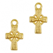 DQ metal charms / charm cross Gold (nickel free)