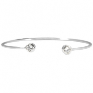 Metal bracelet diamond flower Silver