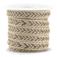 Flat braided waxed cord Camel beige - brown