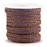 Flat braided waxed cord Brown - purple
