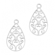 Drop shaped Bohemian charm Silver