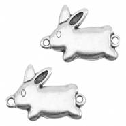 DQ metal charm /connector rabbit Antique silver (nickel free)
