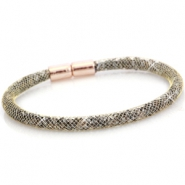 Single crystal faceted bracelet Antique Gold - crystal silver shade