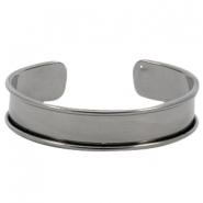 DQ metal bracelet base (for 10mm cord/leather) Silver anthracite (nickel free)