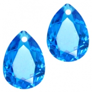 Drop shaped charms 10x14mm Capri blue