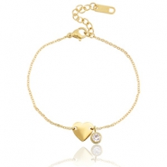 Stainless steel bracelet heart with diamond Gold