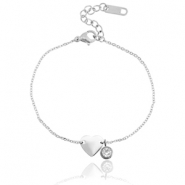 Stainless steel bracelet heart with diamond Silver