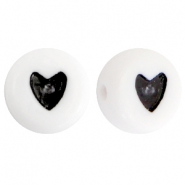 Acrylic heartshaped letterbeads Black-White