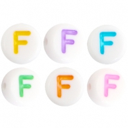 Acrylic letterbeads letter F Multicolor-White