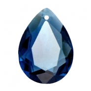 Drop shaped SQ faceted charms 13x18mm Montana blue