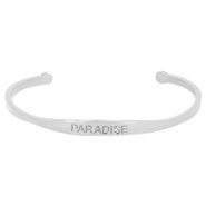 "Stainless steel bracelet with quote ""PARADISE"" Silver"