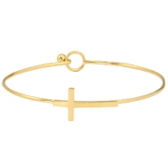 Stainless steel bracelet cross Gold
