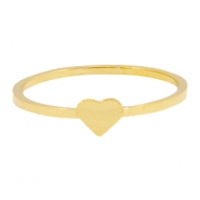Stainless steel ring heart 16mm Gold