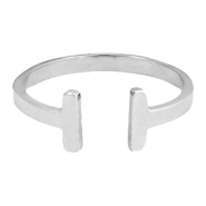 Stainless steel ring double bar 16mm Silver