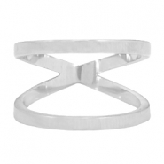 Stainless steel double ring 19mm Silver