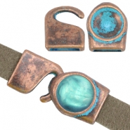 DQ findings setting / hookclasp for 1122 Rivoli 12mm Copper blue patina (nickel free)