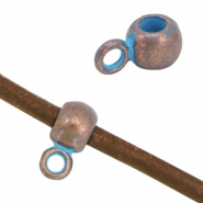 DQ findings charm with loop (for 3mm leather) Copper blue patina (nickel free)