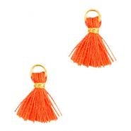 Ibiza style small tassels Gold-Neon orange