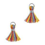 Ibiza style small tassels Silver-Multicolor red yellow