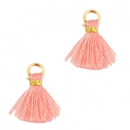 Ibiza style small tassels Gold-Rose peach