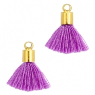 Ibiza style small tassels with end caps Gold-Fel purple