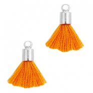 Ibiza style small tassels with end caps Silver-Russet orange