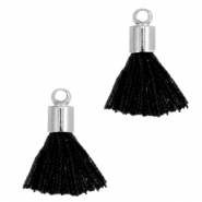 Ibiza style small tassels with end caps Silver-Schwarz