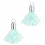 Ibiza style small tassels with end caps Silver-light blue