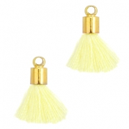Ibiza style small tassels with end caps Gold-Tender yellow