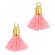 Ibiza style small tassels with end caps Gold-Neon coral pink