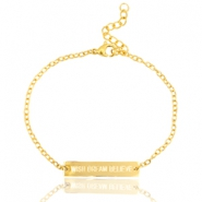"Stainless steel bracelet with quote ""WISH DREAM BELIEVE"" Gold"