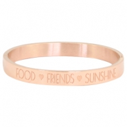 "Stainless steel bracelet with quote ""FOOD?FRIENDS?SUNSHINE"" Rose gold"