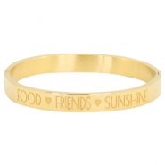 "Stainless steel bracelet with quote ""FOOD?FRIENDS?SUNSHINE"" Gold"