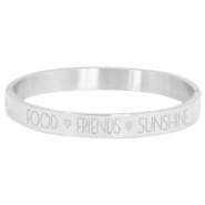 "Stainless steel bracelet with quote ""FOOD?FRIENDS?SUNSHINE"" Silver"