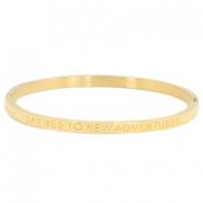 "Stainless steel bracelet thin with quote ""SAY YES TO NEW ADVENTURES"" Gold"