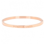 "Stainless steel bracelet thin with quote ""POSITIVE VIBES"" Rose gold"