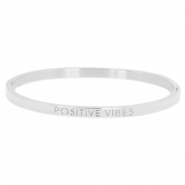 "Stainless steel bracelet thin with quote ""POSITIVE VIBES"" Silver"