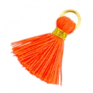 Ibiza style tassels 2cm Gold-Neon orange