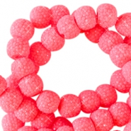 6 mm sparkling beads Fiery coral pink