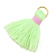 Ibiza style tassels 2cm Flash green-pink