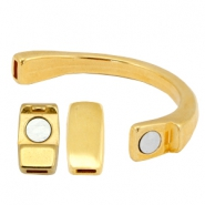 DQ metalic bracelet with magnetic clasp (for 5mm flat leather/string) Gold (nickel free)