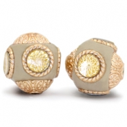 Bohemian beads 14mm Beige - Gold