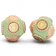 Bohemian beads 14mm light green - Gold