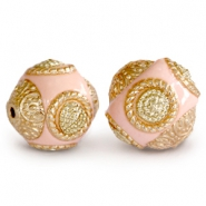 Bohemian beads 14mm Light rose - gold