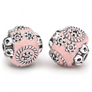 Bohemian beads 14mm Light rose - silver