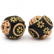 Bohemian beads 14mm black - rose gold