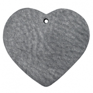 DQ heart leather charms  anthracite black