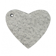DQ heart leather charms  Graphite grey
