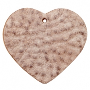 DQ heart leather charms  Smoke cognac brown