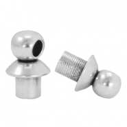 DQ metal end caps with eye for beads with a Ø4mm threading hole Antique silver (nickel free)